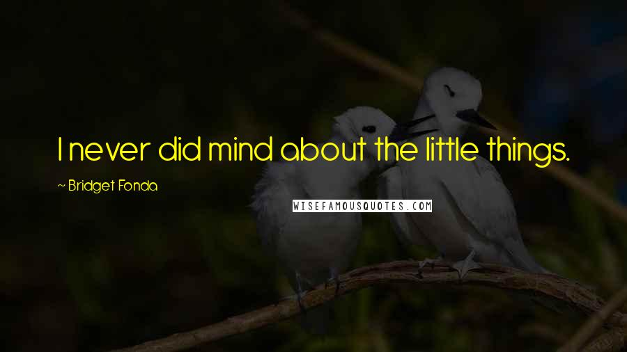 Bridget Fonda quotes: I never did mind about the little things.