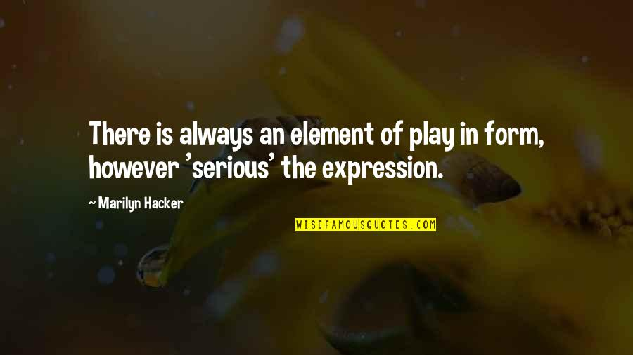 Bridget Willard Quotes By Marilyn Hacker: There is always an element of play in
