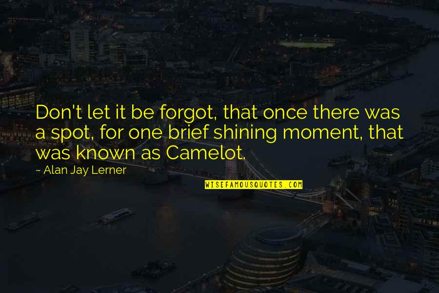 Brief Moments Quotes By Alan Jay Lerner: Don't let it be forgot, that once there