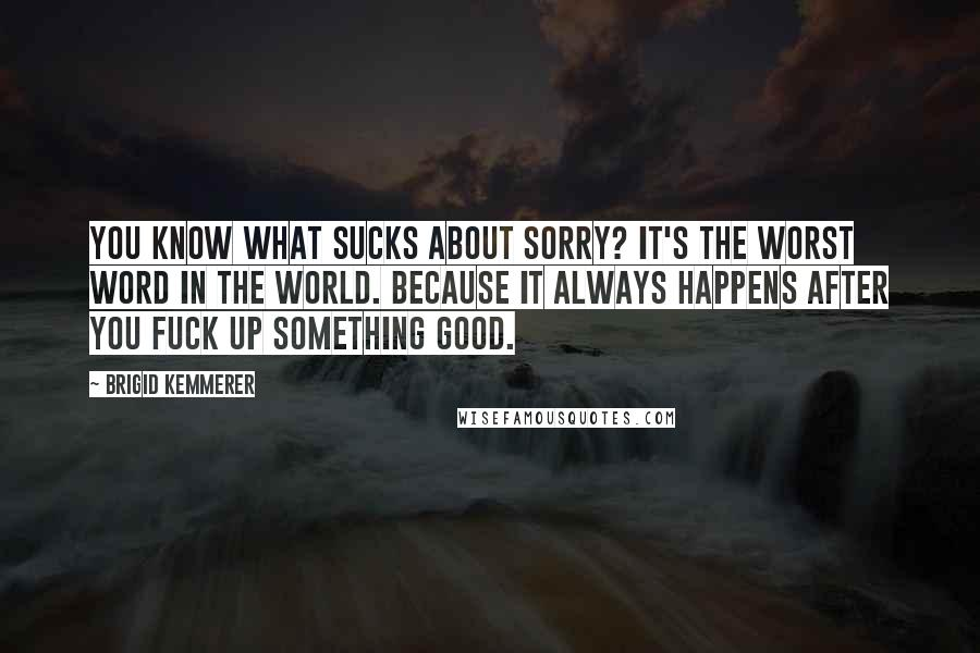 Brigid Kemmerer quotes: You know what sucks about sorry? It's the worst word in the world. Because it always happens after you fuck up something good.