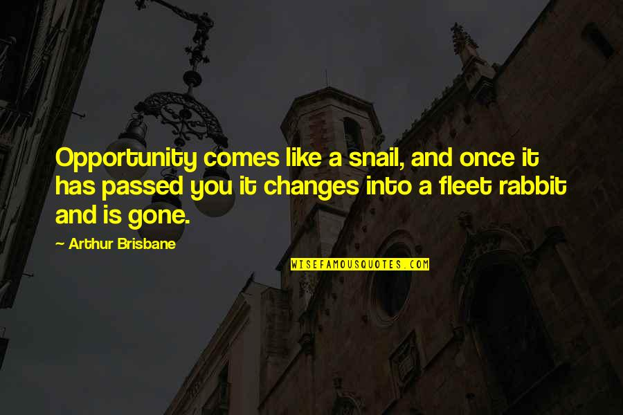 Brisbane Quotes By Arthur Brisbane: Opportunity comes like a snail, and once it