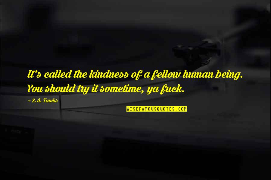 Brisbane Quotes By S.A. Tawks: It's called the kindness of a fellow human