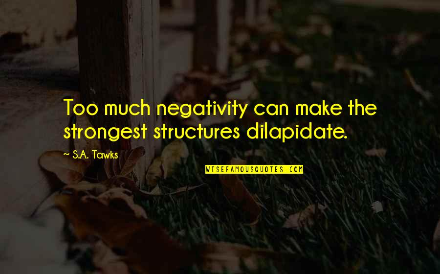 Brisbane Quotes By S.A. Tawks: Too much negativity can make the strongest structures