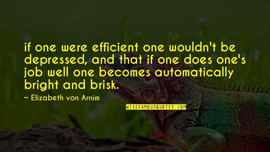Brisk Quotes By Elizabeth Von Arnim: if one were efficient one wouldn't be depressed,