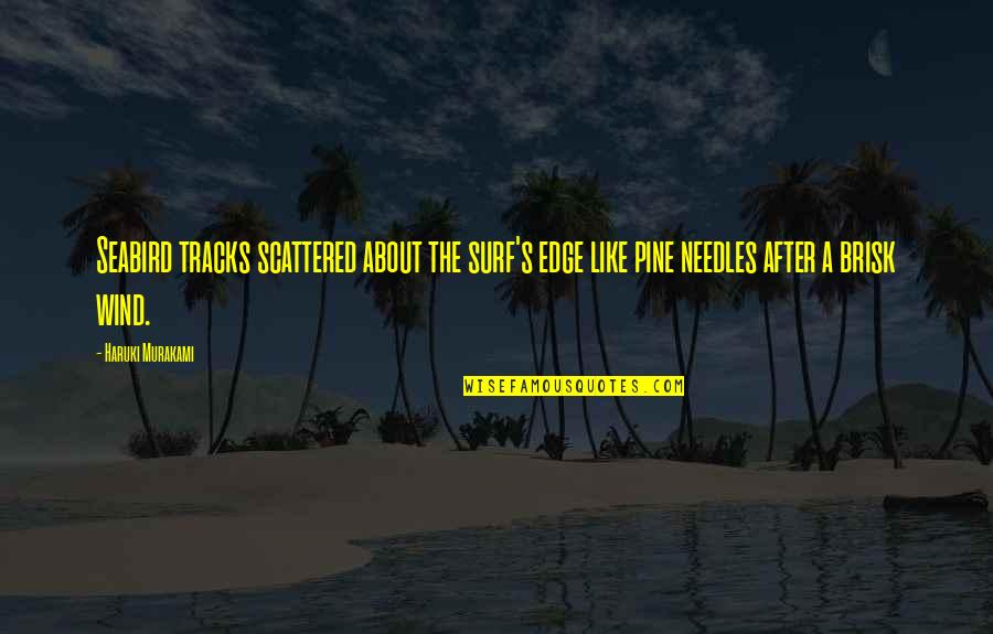 Brisk Quotes By Haruki Murakami: Seabird tracks scattered about the surf's edge like