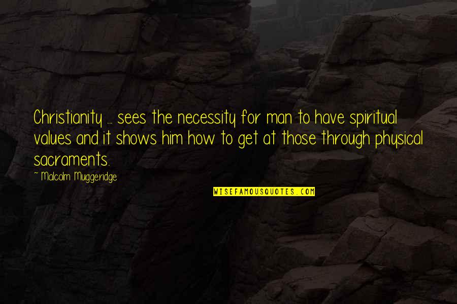 Broadswords Quotes By Malcolm Muggeridge: Christianity ... sees the necessity for man to