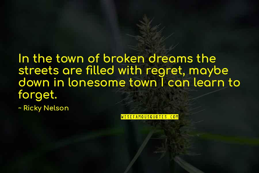 Broken Dreams Quotes By Ricky Nelson: In the town of broken dreams the streets