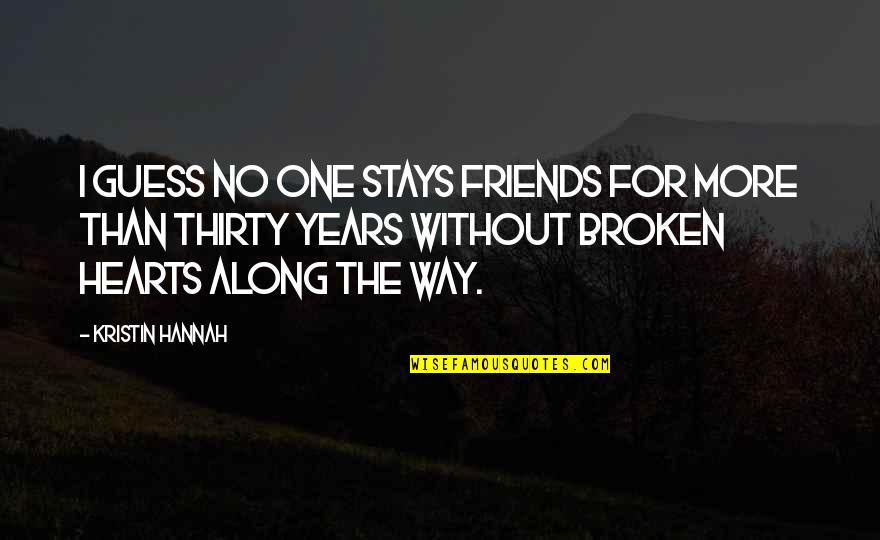 Broken Friends Quotes By Kristin Hannah: I guess no one stays friends for more