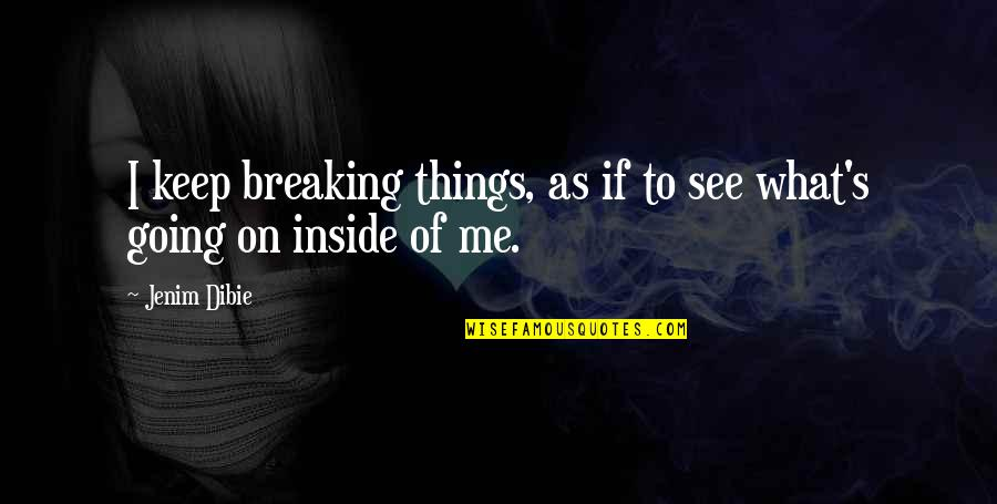 Broken Love Quotes By Jenim Dibie: I keep breaking things, as if to see