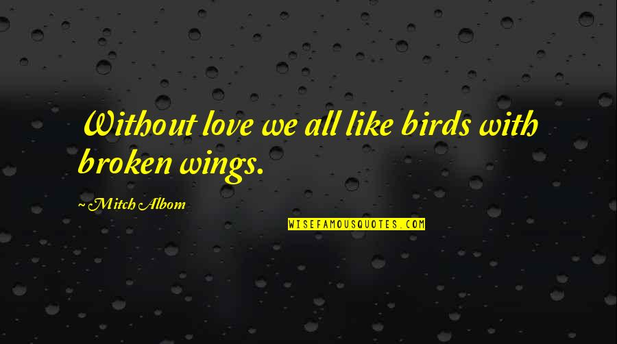 Broken Love Quotes By Mitch Albom: Without love we all like birds with broken