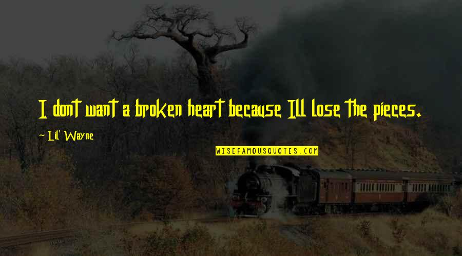Broken Pieces Quotes By Lil' Wayne: I dont want a broken heart because Ill