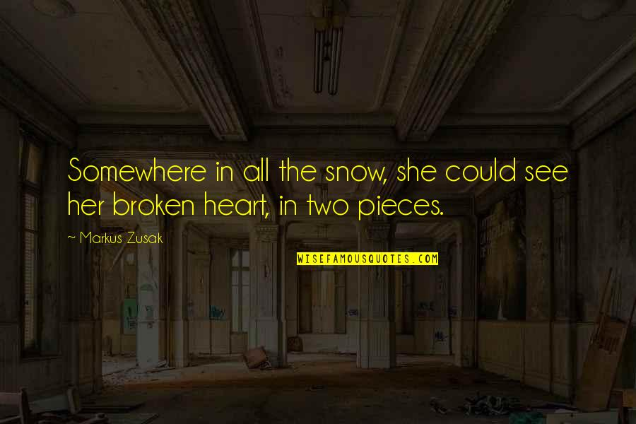 Broken Pieces Quotes By Markus Zusak: Somewhere in all the snow, she could see