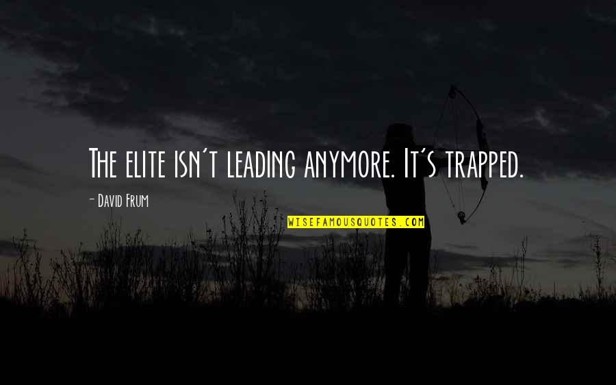 Brooklyn Colm Toibin Quotes By David Frum: The elite isn't leading anymore. It's trapped.