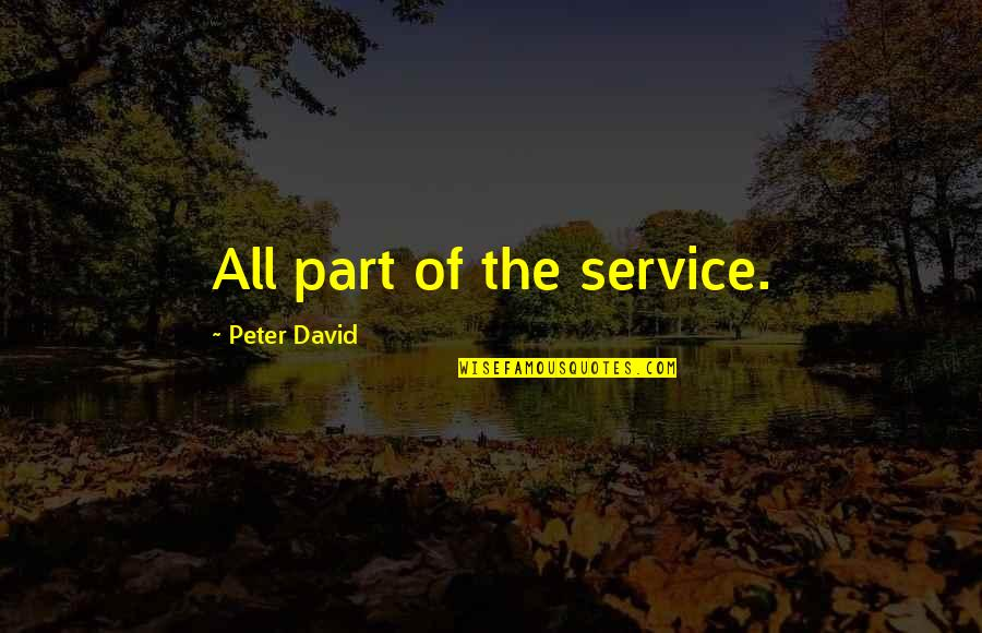 Brothers And Best Friends Quotes By Peter David: All part of the service.