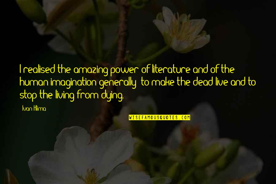 Brothers Love In Hindi Quotes By Ivan Klima: I realised the amazing power of literature and