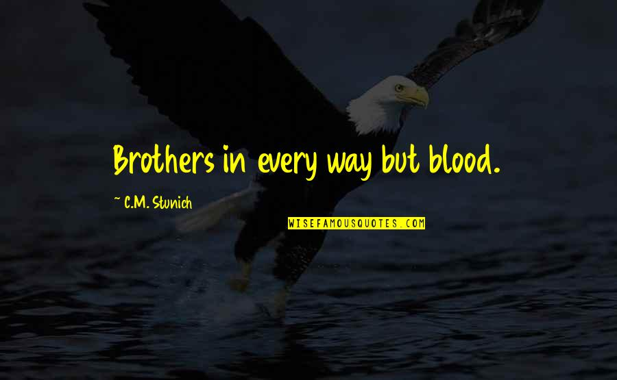 Brothers Not By Blood Quotes By C.M. Stunich: Brothers in every way but blood.