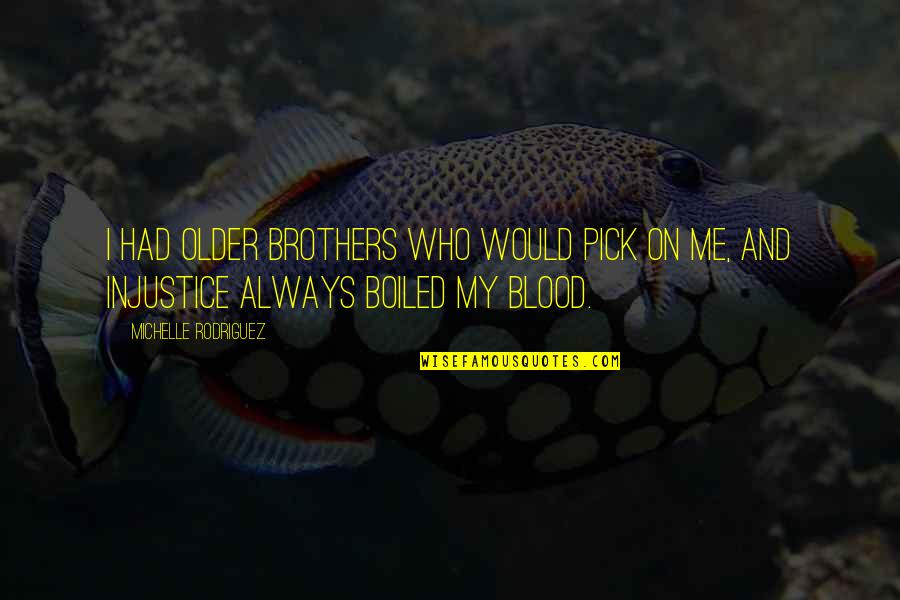 Brothers Not By Blood Quotes By Michelle Rodriguez: I had older brothers who would pick on