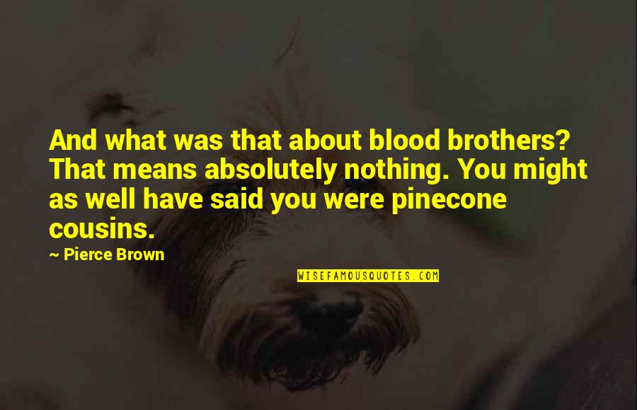 Brothers Not By Blood Quotes By Pierce Brown: And what was that about blood brothers? That