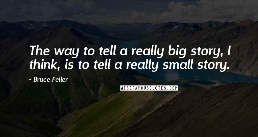 Bruce Feiler quotes: The way to tell a really big story, I think, is to tell a really small story.