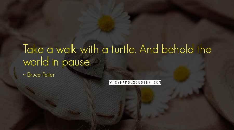 Bruce Feiler quotes: Take a walk with a turtle. And behold the world in pause.