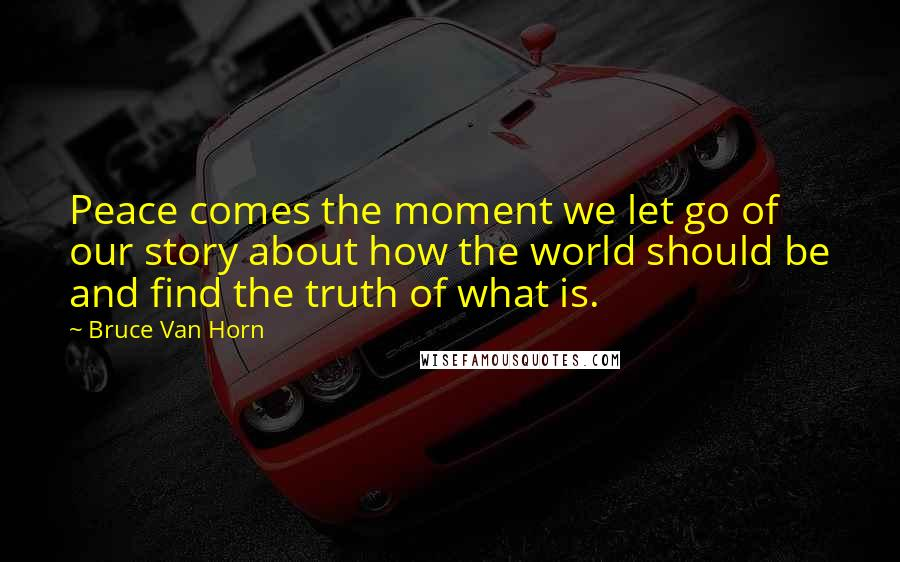 Bruce Van Horn quotes: Peace comes the moment we let go of our story about how the world should be and find the truth of what is.