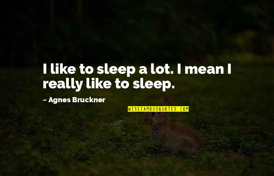 Bruckner Quotes By Agnes Bruckner: I like to sleep a lot. I mean