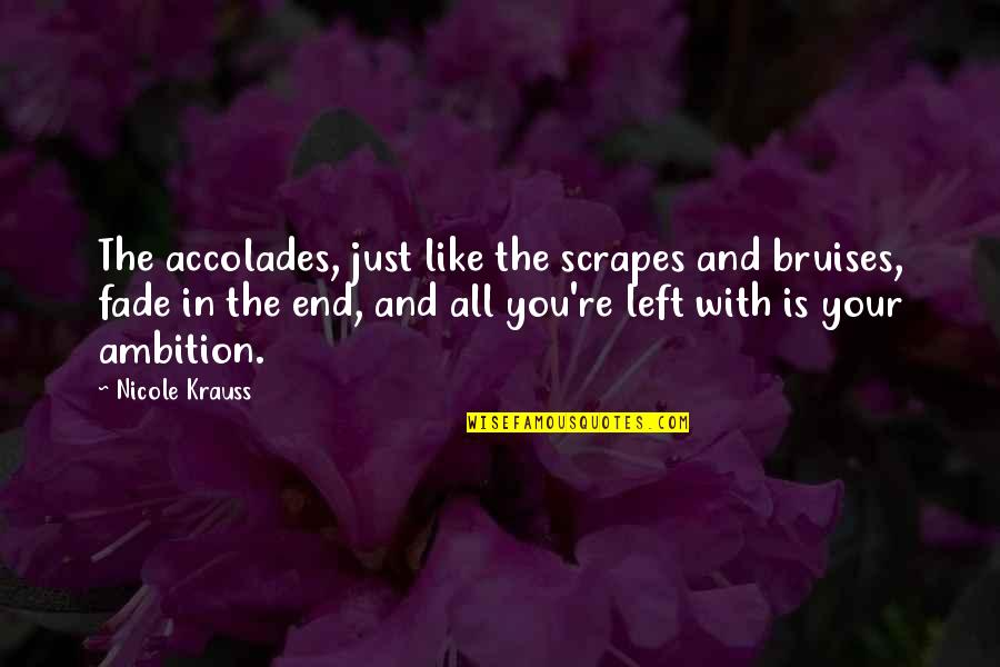 Bruises Fade Quotes By Nicole Krauss: The accolades, just like the scrapes and bruises,