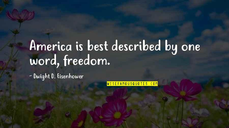 Brush Me Off Quotes By Dwight D. Eisenhower: America is best described by one word, freedom.