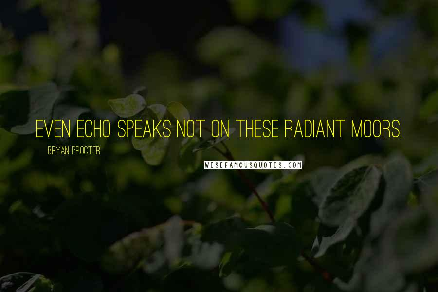 Bryan Procter quotes: Even Echo speaks not on these radiant moors.