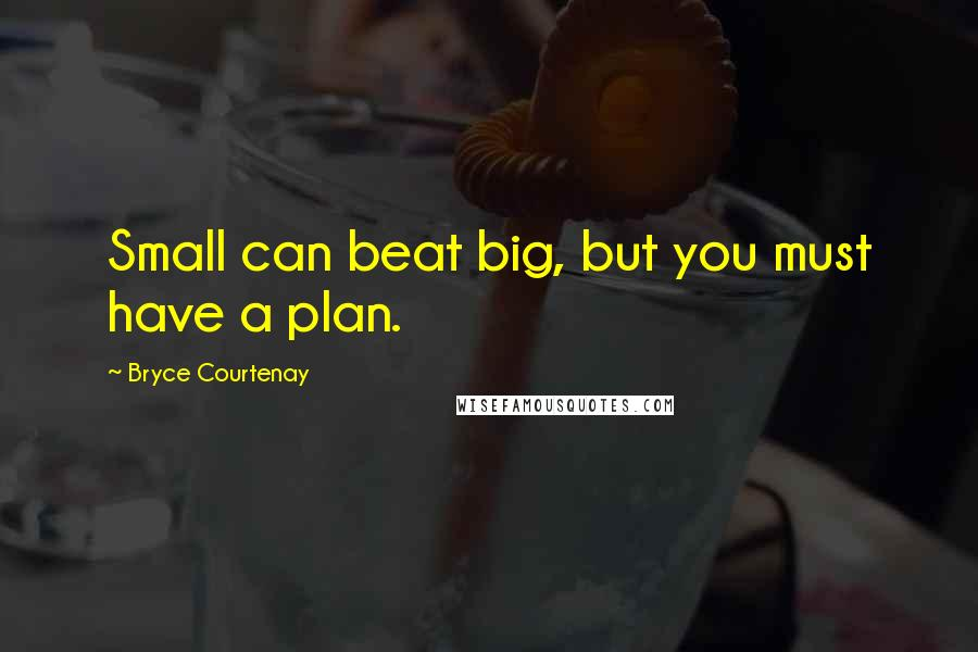 Bryce Courtenay quotes: Small can beat big, but you must have a plan.