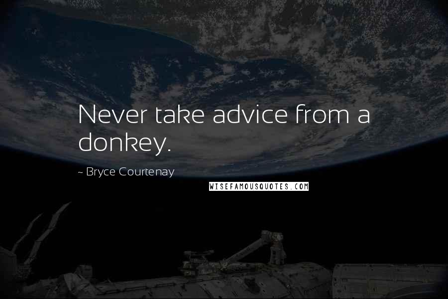 Bryce Courtenay quotes: Never take advice from a donkey.
