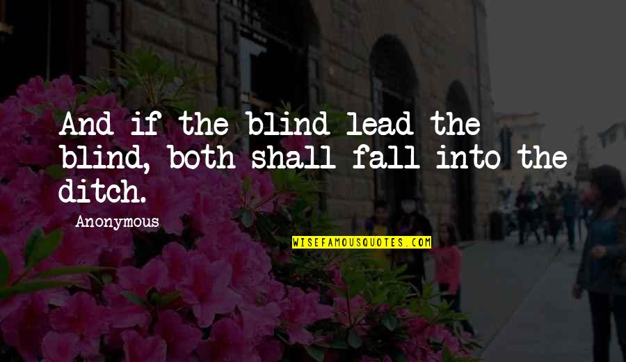 Bsn Motivational Quotes By Anonymous: And if the blind lead the blind, both