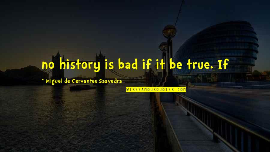 Bubblingly Quotes By Miguel De Cervantes Saavedra: no history is bad if it be true.