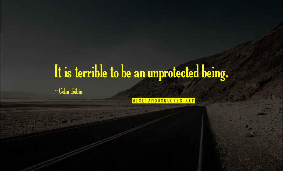 Bubu Quotes By Colm Toibin: It is terrible to be an unprotected being.