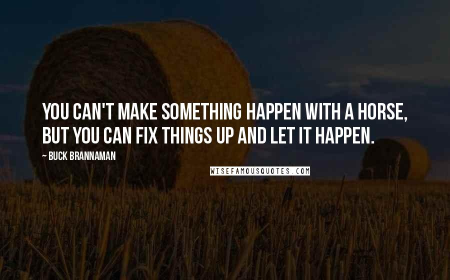Buck Brannaman quotes: You can't make something happen with a horse, but you can fix things up and let it happen.