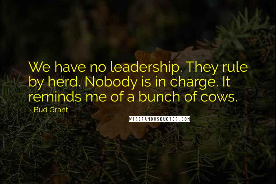 Bud Grant quotes: We have no leadership. They rule by herd. Nobody is in charge. It reminds me of a bunch of cows.