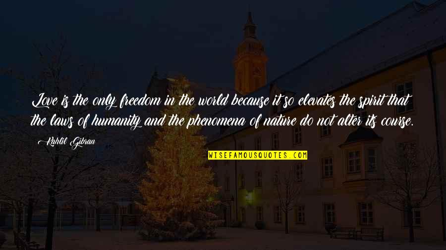 Buddhist Dhamma Quotes By Kahlil Gibran: Love is the only freedom in the world