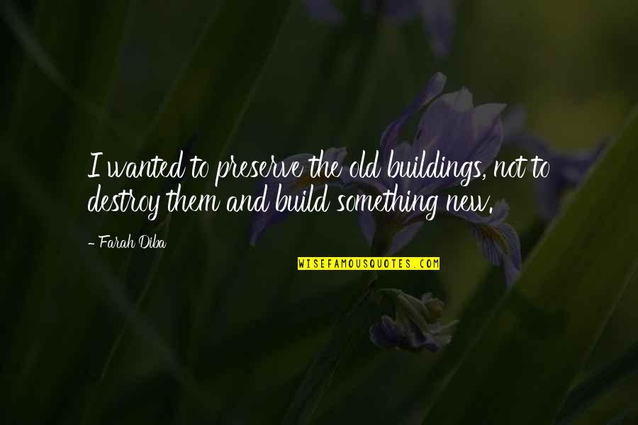 Build Them Up Quotes By Farah Diba: I wanted to preserve the old buildings, not