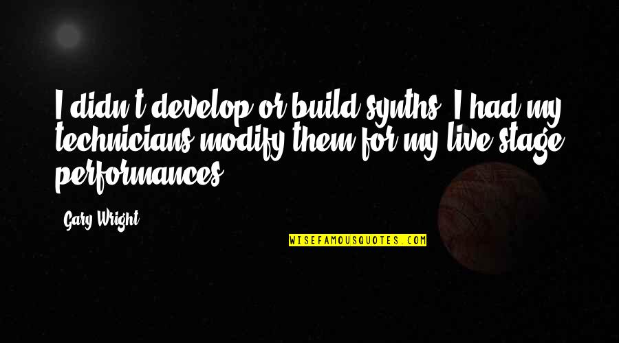 Build Them Up Quotes By Gary Wright: I didn't develop or build synths. I had