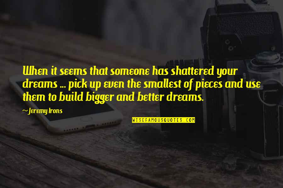 Build Them Up Quotes By Jeremy Irons: When it seems that someone has shattered your
