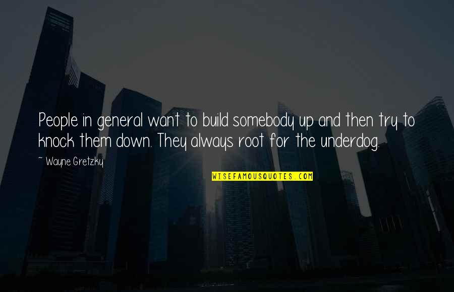 Build Them Up Quotes By Wayne Gretzky: People in general want to build somebody up