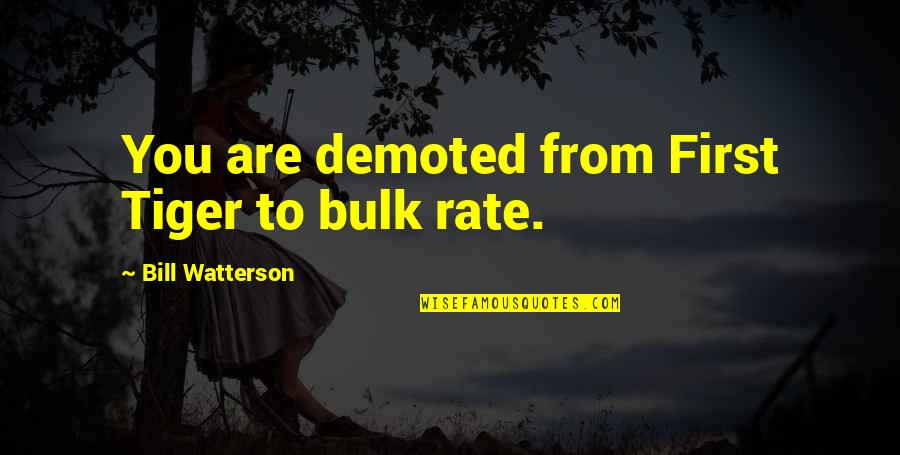 Bulk Quotes By Bill Watterson: You are demoted from First Tiger to bulk