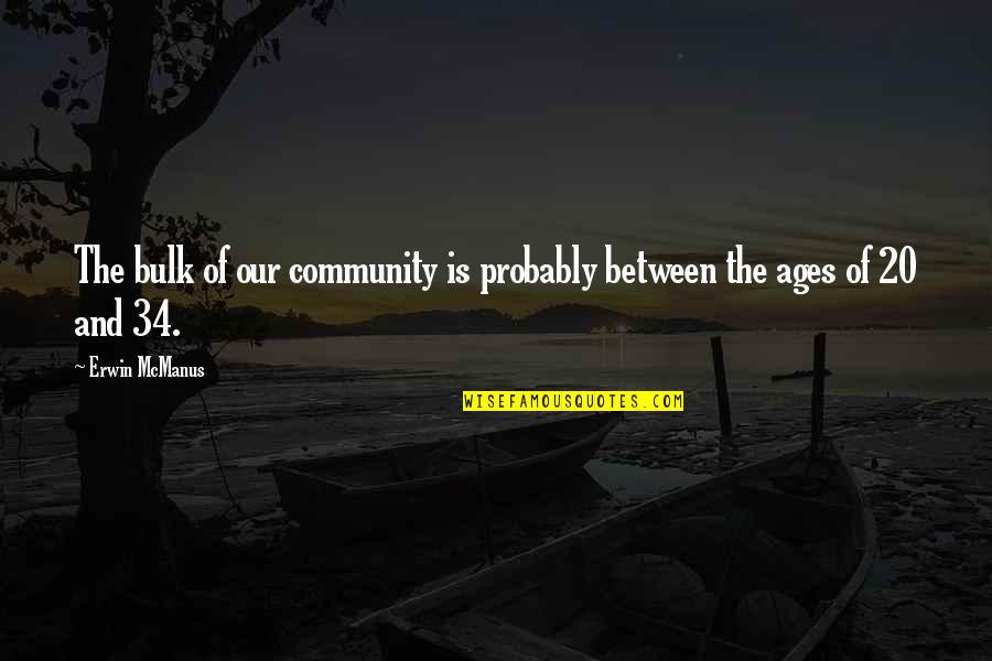 Bulk Quotes By Erwin McManus: The bulk of our community is probably between