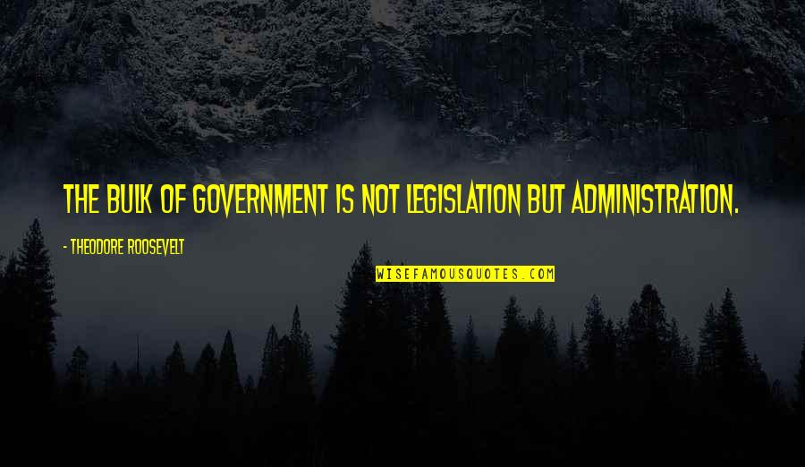 Bulk Quotes By Theodore Roosevelt: The bulk of government is not legislation but