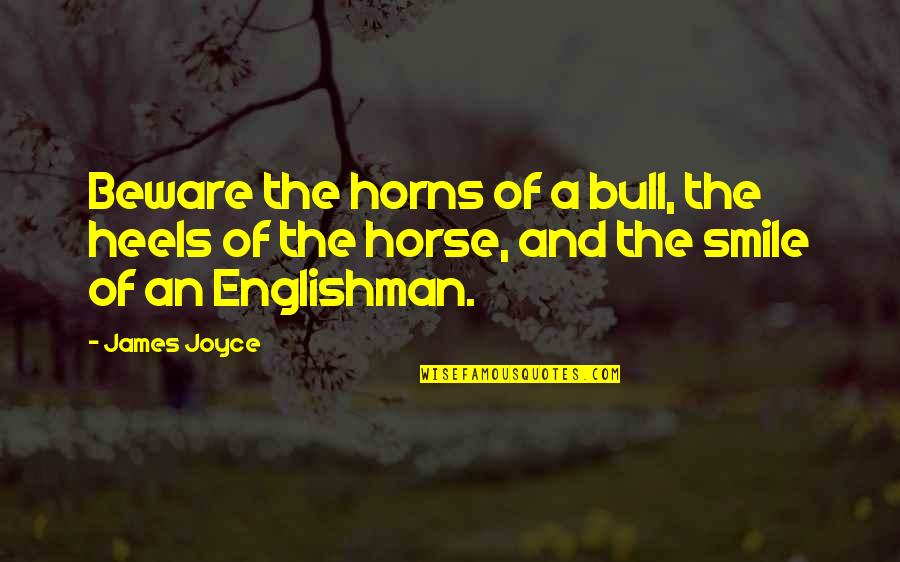 Bull By Horns Quotes By James Joyce: Beware the horns of a bull, the heels