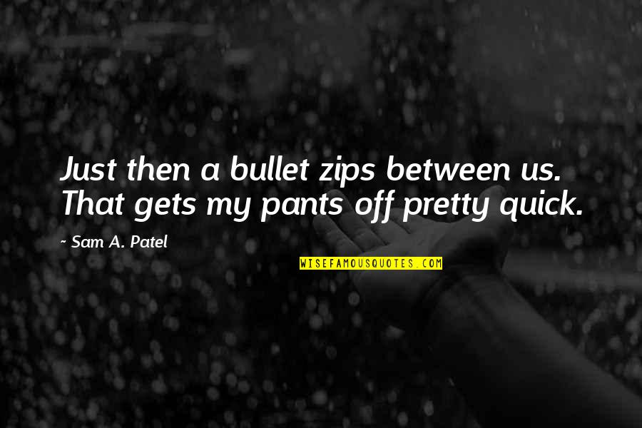 Bullet Quotes By Sam A. Patel: Just then a bullet zips between us. That