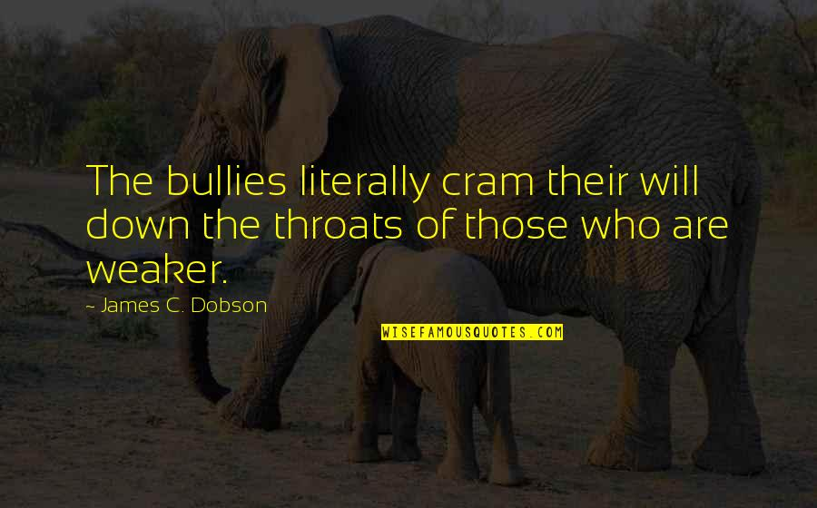 Bullies Quotes By James C. Dobson: The bullies literally cram their will down the