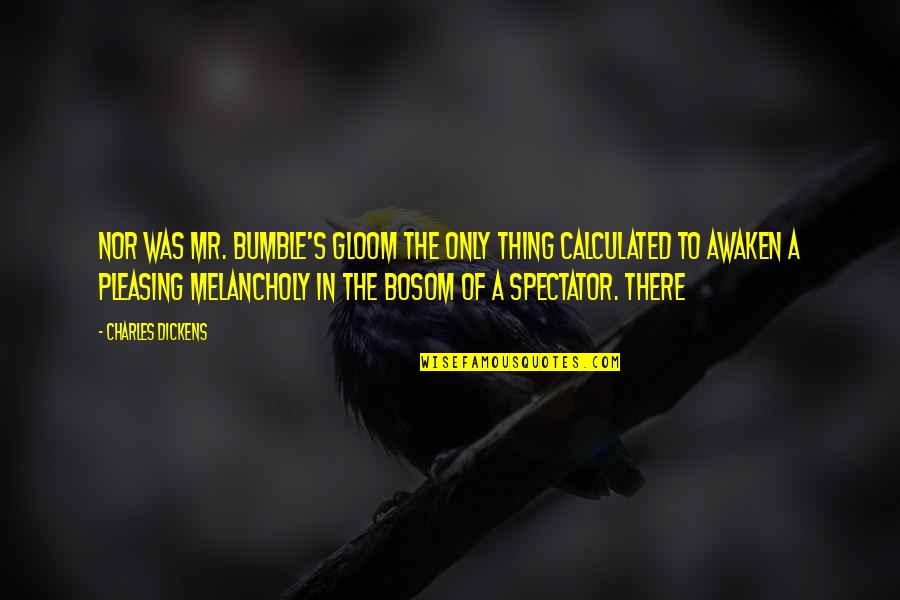 Bumble Quotes By Charles Dickens: Nor was Mr. Bumble's gloom the only thing