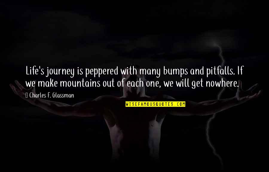 Bumps In Life Quotes By Charles F. Glassman: Life's journey is peppered with many bumps and