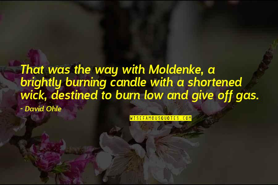 Burning Brightly Quotes By David Ohle: That was the way with Moldenke, a brightly